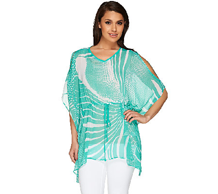 Susan Graver Printed Crinkle Sheer Chiffon Cold Shoulder Scarf Top