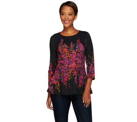 Isaac Mizrahi Live! Wisteria Floral Engineered Peplum Top