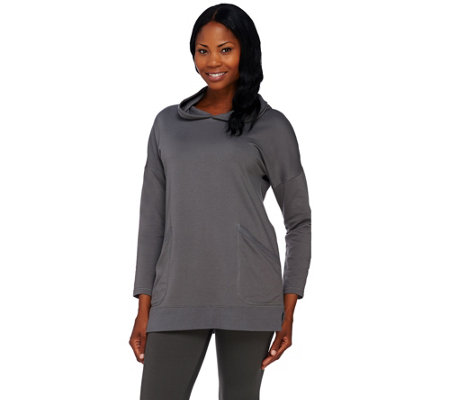 Denim & Co. Active French Terry Drop Shoulder Hooded Tunic