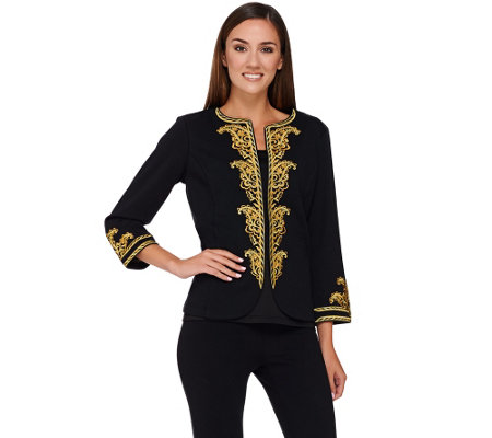 Bob Mackie's 3/4 Sleeve Jacket with Embroidered Trim Detail