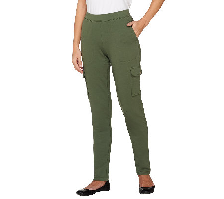 """As Is"" Denim & Co. Active French Terry Pull-on Pant w/ Cargo"