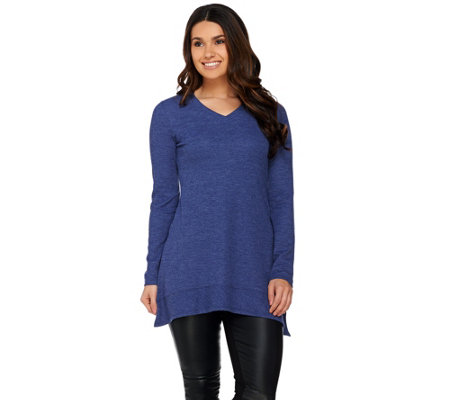 LOGO by Lori Goldstein Thermal Knit Top with Asymmetric Hem