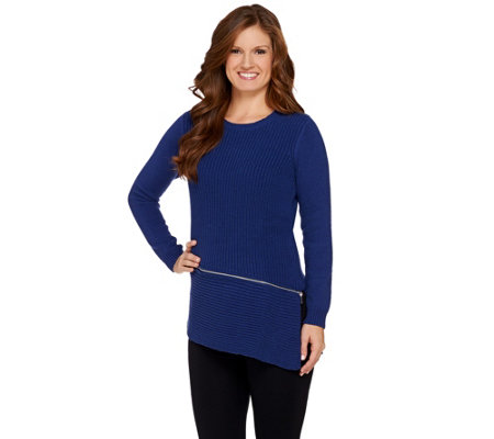 H by Halston Crew Neck Long Sleeve Sweater with Zipper Hem
