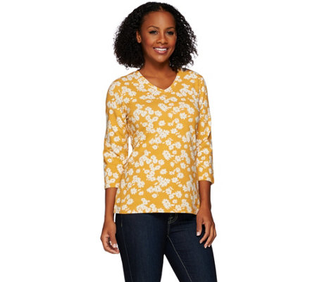Denim & Co. Floral Printed 3/4 Sleeve V-neck Top
