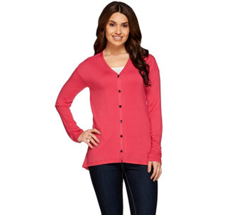 LOGO by Lori Goldstein Button Down Knit Cardigan with Pockets - A273344