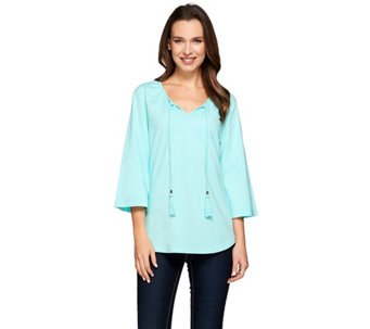 Denim & Co. Scoop Neck 3/4 Sleeve Peasant Top with Neck Ties - A274344