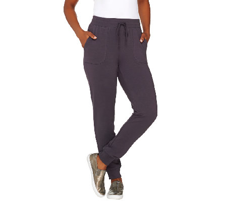 """As Is"" Denim & Co. Active French Terry Pants with Rib Cuff"