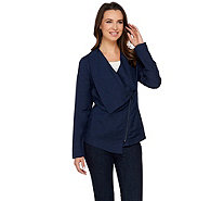 H by Halston Draped Zip Front Linen Blend Blazer - A275444