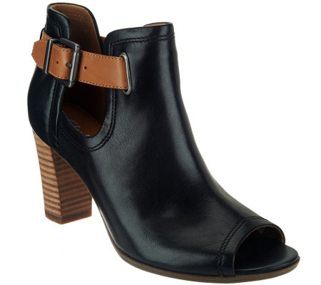 """As Is"" Clarks Artisan Leather Open-toe Booties - Shira Nicole"