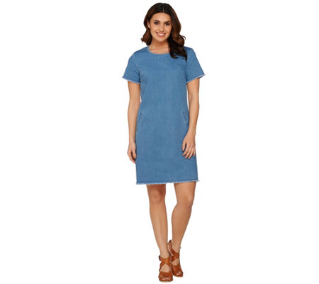 C. Wonder Short Sleeve Denim Dress with Trim Details