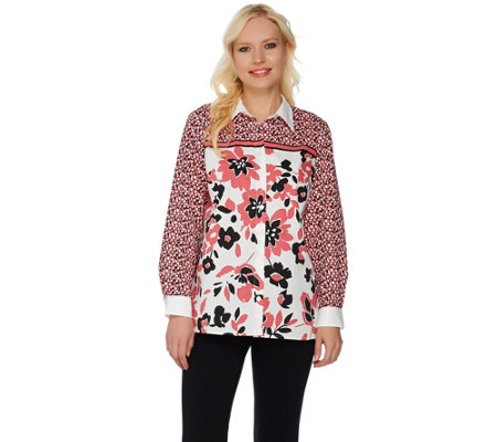 Bob Mackie's Button Front Floral Printed Top with Point Collar