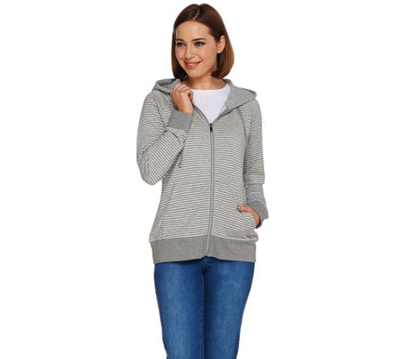 Isaac Mizrahi Live! SOHO French Terry Zip Front Hoodie
