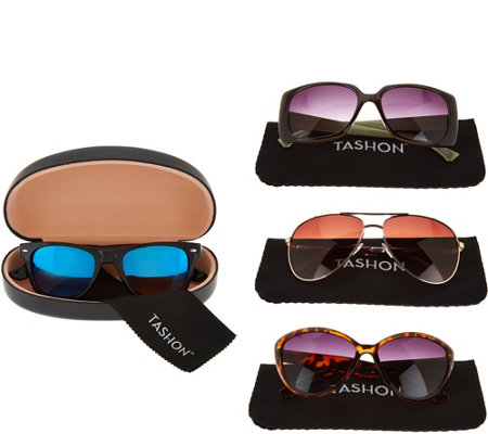 Tashon Set of 4 Sunglasses with Hard Cases & Soft Pouches