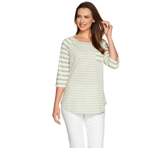 Isaac Mizrahi Live! TRUE DENIM Heathered Mixed Stripe Tunic - A278244