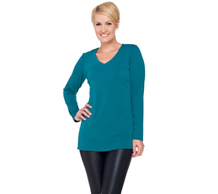 """As Is"" Susan Graver Passport Knit Long Sleeve V-neck Tunic"