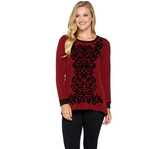 Bob Mackie's Velvet Flocked Knit Top - A279244