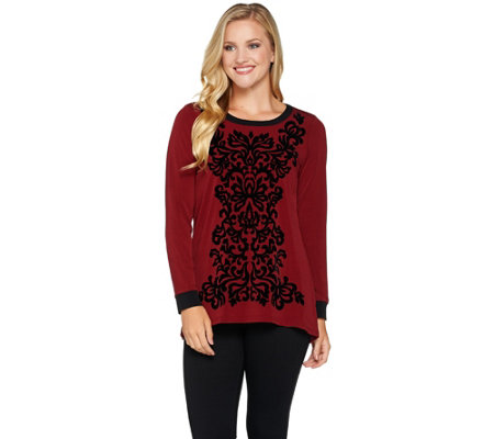 Bob Mackie's Velvet Flocked Knit Top