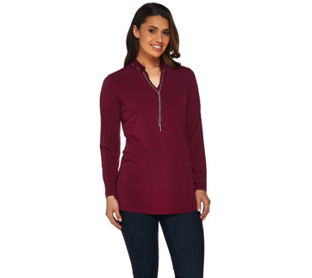 Susan Graver Liquid Knit Long Sleeve Tunic with Chain Trim
