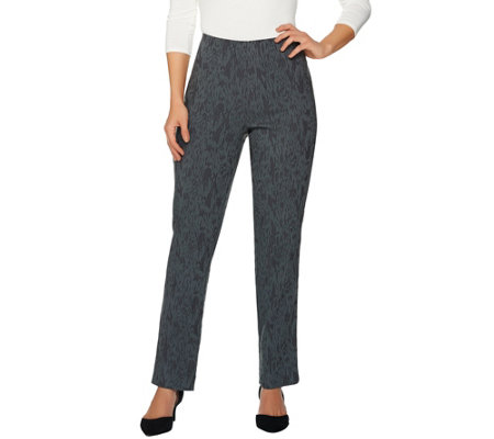 Dennis Basso Solid Jacquard Slim Leg Full Length Pants