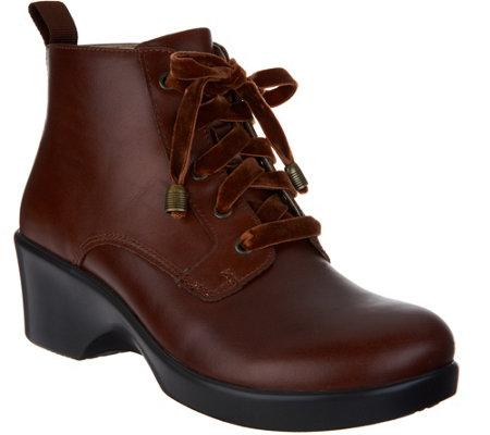 """As Is"" Alegria Leather Printed Lace-up Ankle Boots - Eliza"