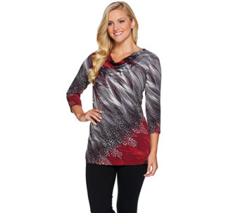 Susan Graver Printed Liquid Knit Drape Neck Tunic - A281144