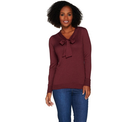 C. Wonder Tie Front V-neck Long Sleeve Sweater