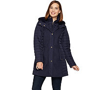 Isaac Mizrahi Live! Chevron Quilted Puffer Coat with Hood - A281844