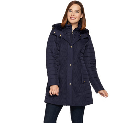 Isaac Mizrahi Live! Chevron Quilted Coat with Hood