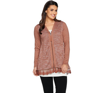 LOGO Lounge by Lori Goldstein French Terry Patchwork Zipper Cardigan - A282144