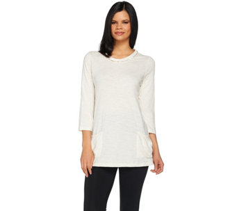 """As Is"" LOGO by Lori Goldstein Knit Top with Pockets and Sequin Trim - A282744"