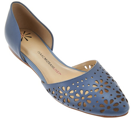 """As Is"" Isaac Mizrahi Live! Perforated Leather D'Orsay Flats"