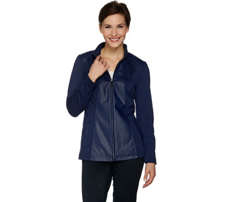 Dennis Basso Faux Leather & Ponte Knit Zip Front Jacket