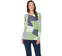 Susan Graver Weekend Printed Cotton Modal Half Zip Top - A285444