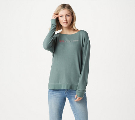 Peace Love World Scoop Neck Comfy Knit Long Sleeve Top