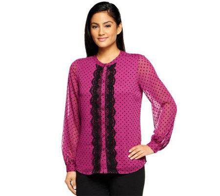 """As Is"" Isaac Mizrahi Live! Swiss Dot_Long Sleeve Lace Trim Top"