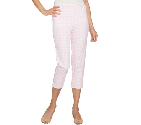 Joan Rivers Regular Gingham Print Pull-On Crop Pants
