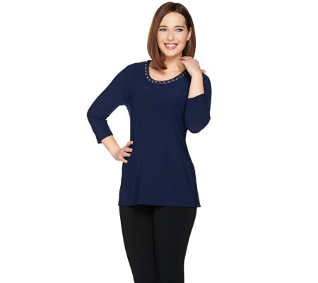 Dennis Basso Caviar Crepe Knit Top with Chain Trim