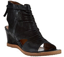 Miz Mooz Leather Open Toe Wedge Booties - Becca - A289344