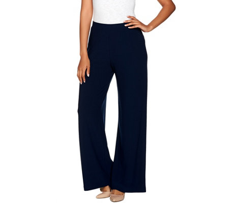 """As Is"" Susan Graver Textured Liquid Knit Wide Leg Pull- On Pants"