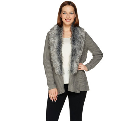 """As Is"" Dennis Basso Faux Fur Shawl Collar Cardigan"