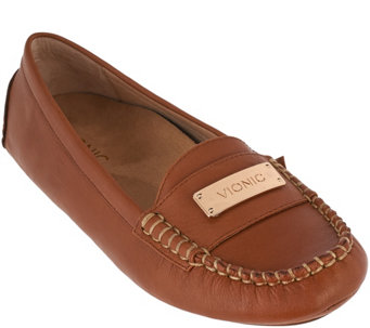 """As Is"" Vionic Orthotic Leather Moccasins - Sydney - A293144"