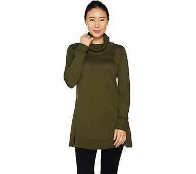 H by Halston Turtleneck Sweater Tunic with Rib Detail - A293344