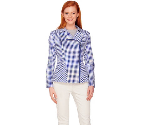 """As Is"" Isaac Mizrahi Live! Gingham Peplum Motorcycle Jacket"