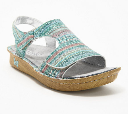 """As Is"" Alegria Leather Embroidered Sandals - Viki"