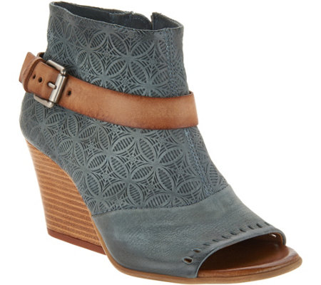 Miz Mooz Leather Peep Toe Wedge Booties - Kahlo