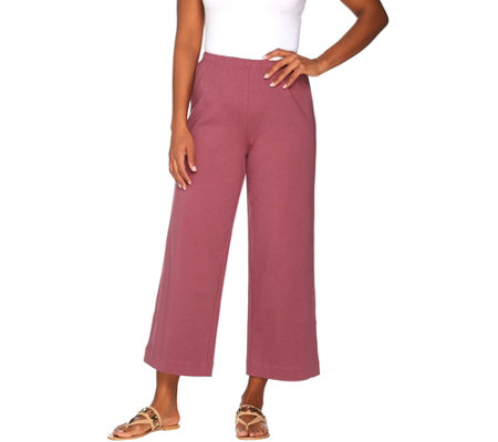 Joan Rivers Petite Length Wide Leg Pull-on Cropped Knit Pants