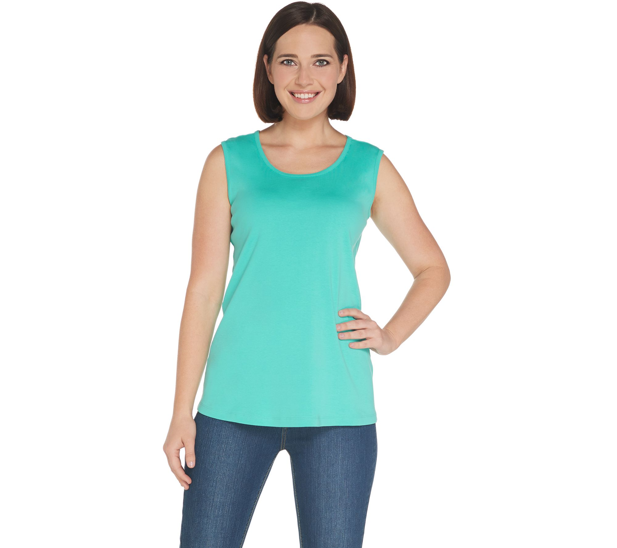 Denim & Co. Essentials Scoop-Neck Rib Knit Tank with Curved Hem - A307544