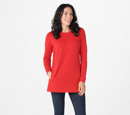 """As Is"" Denim & Co. Active Crew Neck Long Sleeve Tunic"