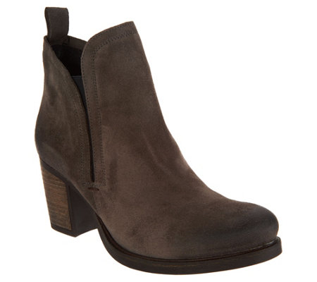 """As Is"" Bos. & Co. Water Resistant Suede Pull on Ankle Boots -Belfield"