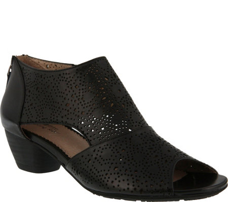 Spring Step Perforated Leather Open Toe Shooties - Atlas